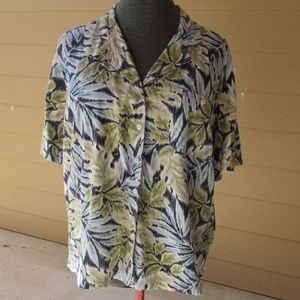 Erika button up tropical blouse